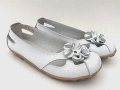 TAMMY WHITE LEATHER FLATS