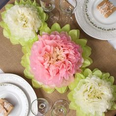 Create beautiful centerpieces for your wedding or bridal shower, with these tissue paper flowers.
