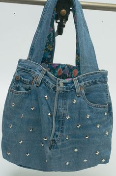 20 discount-Reversable denim tote bag made by a recycled jeans and lined with cotton fabric-Gipsy Bag Nr 10