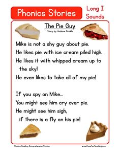 This Reading Comprehension Worksheet - The Pie Guy is for teaching reading comprehension. Use this reading comprehension story to teach reading comprehension.