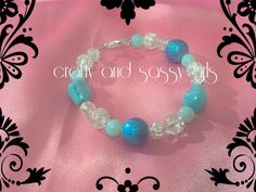 8 inch bracelet with clasp blues and whites by craftyandsassygirls, $15.00