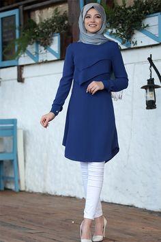 Al-Marah Saks İkra Tunik - Beltane Modern Hijab Fashion, Abaya Fashion, Muslim Fashion, Modest Fashion, Fashion Outfits, Modest Dresses, Modest Outfits, Iranian Women Fashion, Modele Hijab