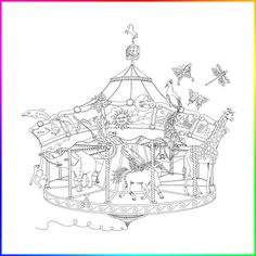 Daydream Carousel, Journey Through Time, Coloring Book, Illustration, Art, Poetry, Hard Cover, Frame, Folder, Present, Evolution, Imagination, Color, Meditation, Color, Peace