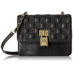 Perfectly proportioned for everyday carry, this sleek cross body from Anne Klein is highlighted with gleaming gold-tone hardware and quilted material for a touch of polish.Small bag in snake-pattern faux leather featuring quilted fold-over flap with decorative logo padlockCross-body strapPockets: 6