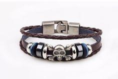 Hand Made Multilayer Braided Bracelets Men Vintage Punk Genuine Leather bracelet &Bangle good gift Bijouterie Accessories Braided Bracelets, Bracelets For Men, Bangle Bracelets, Leather Bracelets, Bangles, Leather Chain, Braided Leather, Mode Punk, Metal Skull