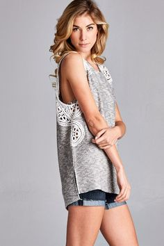 Heather Grey Tank with Ivory Lace $35 shipped, S-M-L Purchase here: https://www.facebook.com/photo.php?fbid=10155035567648686&set=pcb.1373812592678013&type=3&theater