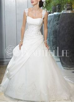 A line Wedding Dresses Square Satin Organza Ball Gown Straps Wedding Dress With Appliques