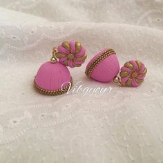 100% handmade jhumka / jhumki earrings made of polymer clay and gold plated findings. Please message for custom colors.
