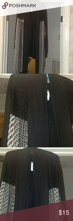 CJ Banks Black, white and lace long cardigan Black and white on front side pieces. Lace corners near the shoulder. CJ Banks Sweaters Cardigans