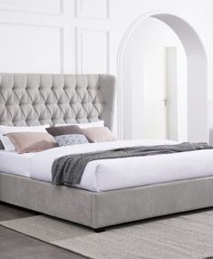Geneva 4ft6 Double Bed Frame – Upstairs Downstairs Bedroom Bed, Bedrooms, Headboard Designs, Chenille Fabric, Double Beds, Quality Furniture, Geneva, Bed Frame
