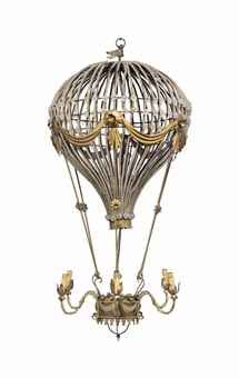 A VERY LARGE FRENCH GILT-METAL AND GLASS-BEAD-MOUNTED SIX-LIGHT 'MONGOLFIER' CHANDELIER