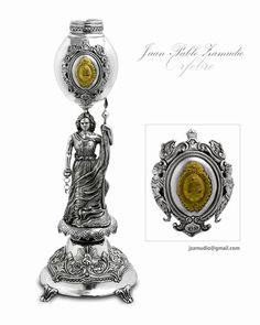 Mate de copa con escultura y detalles alegóricos a la independencia Argentina, realizado en plata y oro  jzamudio@gmail.com