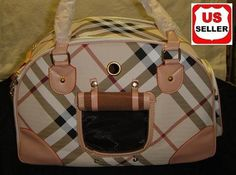 B13 Cute Dog Pet Purse Carrier Tote Beige and Black Check Leather Trimmed | eBay