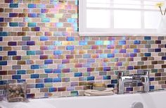 Kew Nature/Glass Mix Mosaics Brick Tile