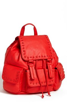 Cesca Enameled Studded Faux Leather Backpack (Juniors) available at #Nordstrom