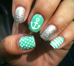 Nautical Anchor silver glitter teal and white stripes