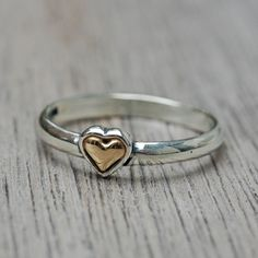 Heart Of Gold Ring Mommy Jewelry Sterling Silver Gold Ring : Hand Stamped Jewelry from Heart On Your Wrist, Unique Mommy Jewelry