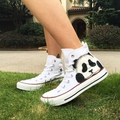 Custom Converse All Star Hand Painted Panda High Top Canvas Sneakers | shoemycolor - Clothing on ArtFire