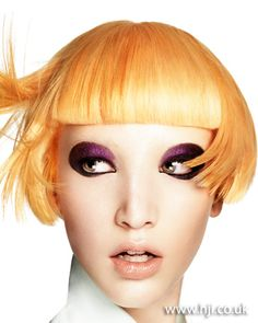2012 peach blonde short bob hairstyle hairstyle    A peach bob was prepped with smoothing cr�me and blow-dried using a small round brush to smooth out and create a head-hugging shape. Once dry, hair was smoothed over with a dab of serum.     Hairstyle by: Frank Apostolopoulos  Hairstyle picture by: Andrew O'Toole  Salon: Biba Salons  Location: Australia