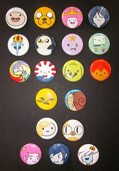 Pick your own 1 Adventure Time buttons by Rosewine on Etsy, $6.00http://www.etsy.com/ca/listing/161729000/pick-your-own-1-adventure-time-buttons? ref=sr_gallery_8&ga_search_query=adventure+time&ga_ship_to=CA&ga_page=2&ga_search_type=all&ga_view_type=gallery