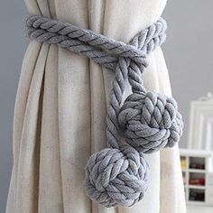 LissomPlume Hand Knit Curtains Tieback Buckle Home Decor Drapery Tassel Holdback Rope Tie Fastener Double Ball Clip Rope Curtain Tie Back, Curtain Tie Backs, Crochet Curtains, Cotton Curtains, Cable Knit Blankets, Merino Wool Blanket, Hygge, Nautical Curtains, Curtain Headings