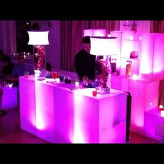 Provide uplighting for your appetizer station at your Super Sweet 16. Completes the party with great food, a great look and great music, néon bar