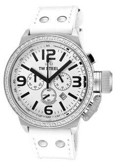 TW Steel  Men's Canteen Chronograph White Zirkonias White Dial White Leather - take 40% off!