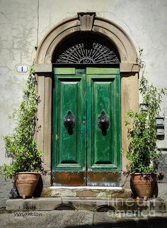 This elegant green door has so much charm. Cool Doors, Unique Doors, Entrance Doors, Doorway, Door Knockers, Door Knobs, When One Door Closes, Vintage Doors, Door Gate