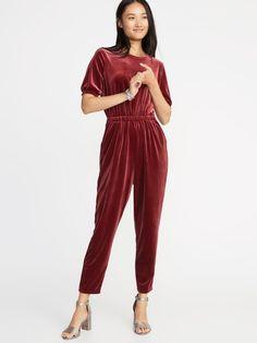9a5c0959ab39 Defined Smocked-Sleeve Velvet Jumpsuit for Women