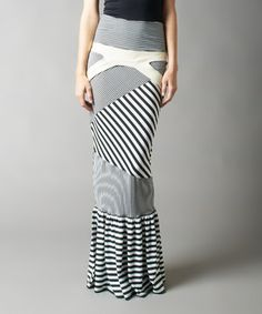 This Nuvula Black & White Stripe Mermaid Maxi Skirt by Nuvula is perfect! #zulilyfinds