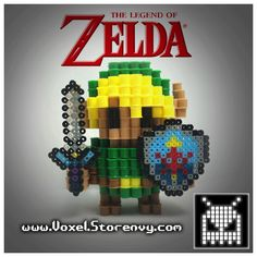 This+is+a+Link+(The+Legend+of+Zelda)+I+made+in+the+cool+new+3d+perlerbead+art+style!+It+is+for+sale+so+you+can+add+this+to+your+collection+today!  Products+are+made+to+order+and+do+take+about+a+week+to+make+depending+on+the+order,+please+be+patient  (Like+Voxel+on+Facebook!)+ http://facebook...