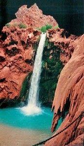 Havasupai - Grand Canyon. Mooney Falls. Steep climb down..not for the faint of heart. discountattractions.com