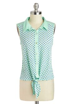Tied Together With Style Top - Short, Mint, Blue, Polka Dots, Buttons, Casual, Sleeveless, Collared, Vintage Inspired, 50s, 60s, Button Down