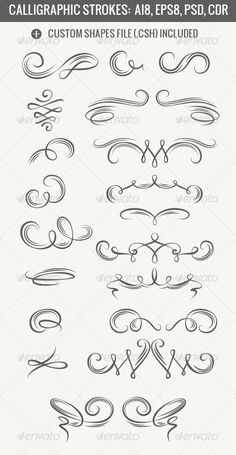 Calligraphic Strokes by unweit Set of calligraphic strokes.Set includes:EPS 8 AI 8 layered PSD (vector shapes) Photoshop custom shapes file .CSH CDR 12
