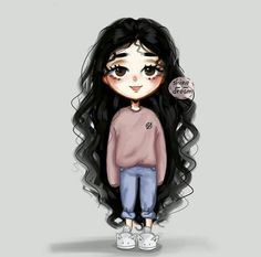 Discovered by 𓆩 🖤 رانيـآ 𓆪. Find images and videos about girl, art and curly hair on We Heart It - the app to get lost in what you love. Girl Drawing Sketches, Cute Girl Drawing, Girly Drawings, Cartoon Girl Drawing, Anime Curly Hair, Curly Hair Cartoon, Curly Hair Drawing, Cartoon Girl Images, Cute Cartoon Girl