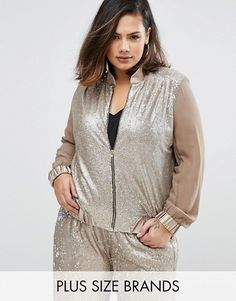 Elvi | Elvi Plus Sequin Bomber Jacket