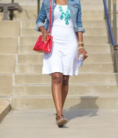 White Dress + Chambray Shirt as Sweater/Cardi + Turquoise Bubble Necklace + Red Bag love this look