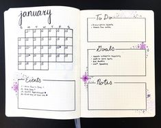 """10 Likes, 3 Comments - Bullet Journal (@bulletjournal__) on Instagram: """"My detailed January page to track monthly events and goals!"""""""
