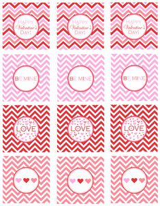 free chevron valentines day printables