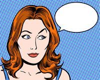Redhead comic pop art character looking sideways with speech bubble Royalty Free Stock Photo