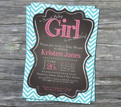 printable Baby Girl Shower Invitation chevron by DigiBabyDesign, $15.00