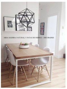 mesa madera y patas de hierro