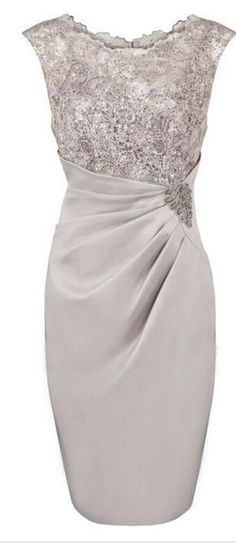 d5f02fc7c32 Sheath Scoop Knee-length Grey Mother of The Bride Dress With Appliques