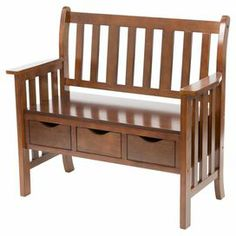 """Slat-back storage bench with 3 bottom drawers and a country oak finish.  Product: Storage benchConstruction Material: Hardwood, MDF and veneerColor: OakFeatures: Three storage drawersDimensions: 36"""" H x 40"""" W x 19.5"""" D"""