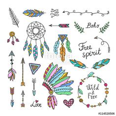 Vector: Boho style elements. Hand drawn tribal symbols^ arrows, feathers…