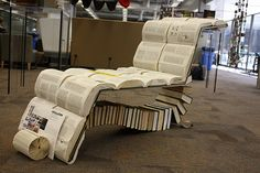 Book Chair (2009) designed and constructed by architecture students at Cal Poly, SLO for an exhibit in the Robert E. Kennedy Library (http://lib.calpoly.edu/).  [ #books #library #sculpture ]