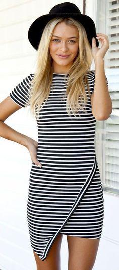 Striped Wraped Bodycon Dress - Jassie Line