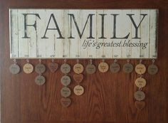 Personalized and Assembled Family Blessings Birthday Board FBMBBP, family birthday board, anniversary gift for parent, birthday calendar Family Birthday Board, Diy Birthday, Birthday Ideas, Meaningful Gifts, Memorable Gifts, Craft Gifts, Diy Gifts, Anniversary Gifts For Parents, Birthday Calendar