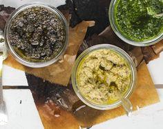 Pesto, Basilikumpesto, Auberginenpesto, Olivenpesto, lecker zu Baguette oder Pasta