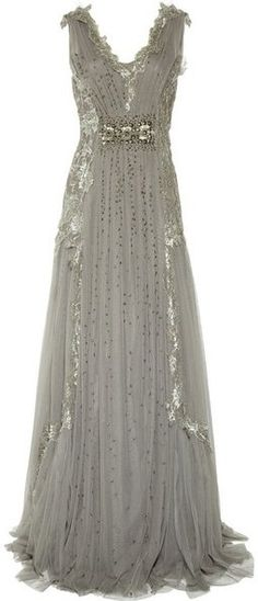 Alberta Ferretti Embroidered Tulle Gown-This would make such a beautiful Wedding Dress! Has a Vintage inspired charm to it.